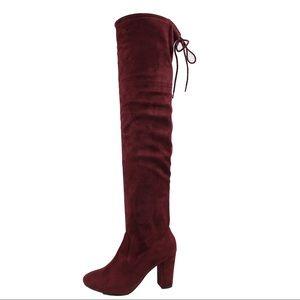 Shoes - Vino Red over the knee block heel back tie boot